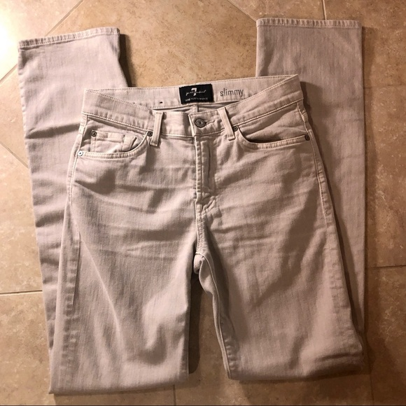 7 FOR ALL MANKIND LUXE PERFORMANCE BEIGE 34 SLIMMY SLIM STRAIGHT LEG JEANS NWT